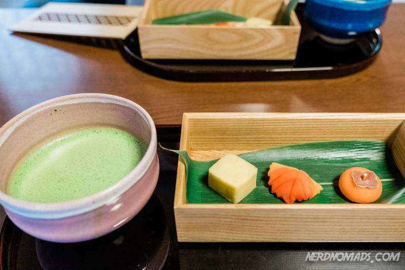 Matcha green tea and Japanese sweets at teahouse inside Seiryu-en Garden in Nijo Castle in Kyoto