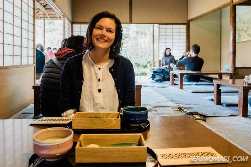 Enjoying a matcha and sweets set at the tea house at Seryu-en Garden inside Nijo Castle, Kyoto