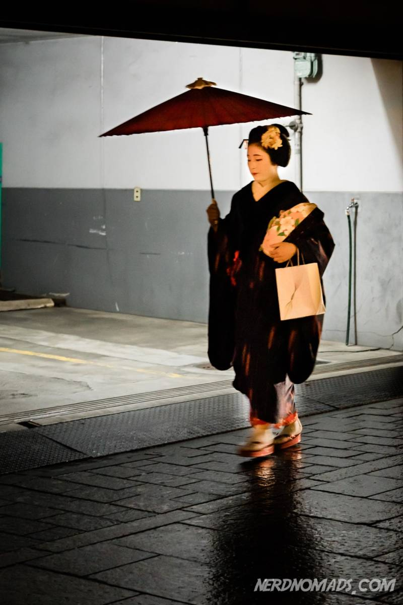 Geisha Walking In Hanamokoji Geisha Street, Gion, Kyoto