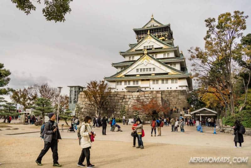 Entrance and front of Osaka Castle in Osaka, Japan