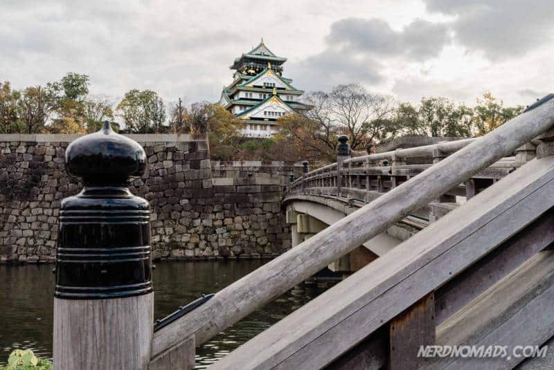 Lovely bridge over the moat at Osaka Castle in Osaka, Japan
