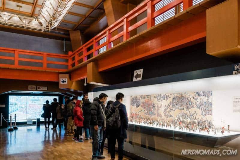 Inside the museum at Osaka Castle in Osaka, Japan