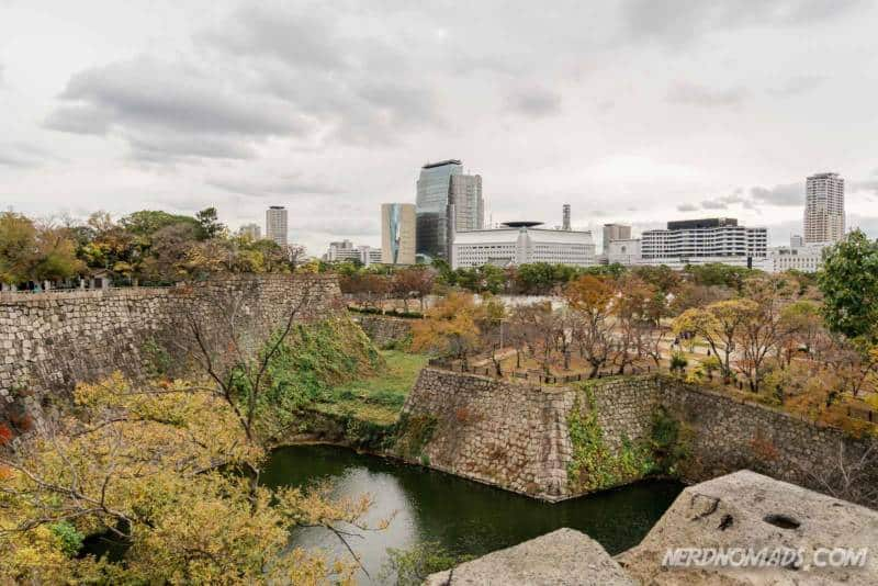 View from the observation deck at Osaka Castle in Osaka, Japan