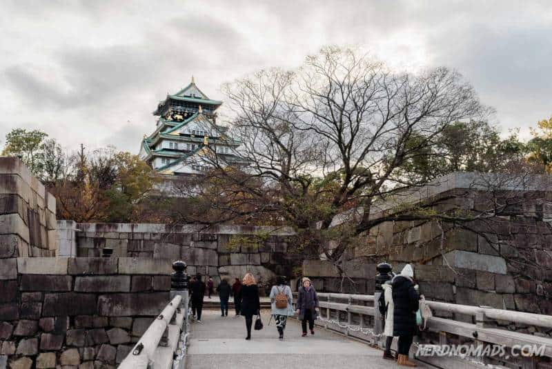 Bridge and people at Osaka Castle in Osaka, Japan