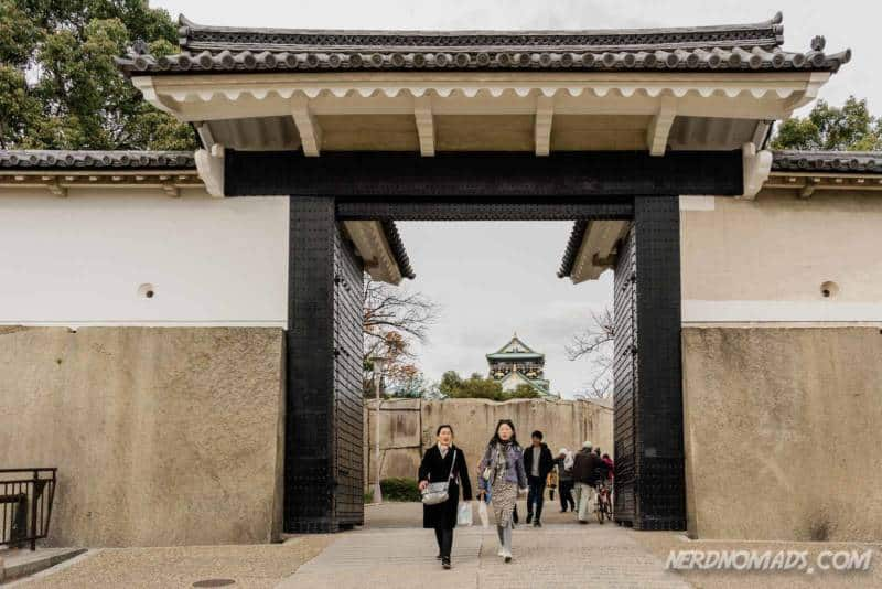 Sakuramon Gate at Osaka Castle in Osaka. Japan