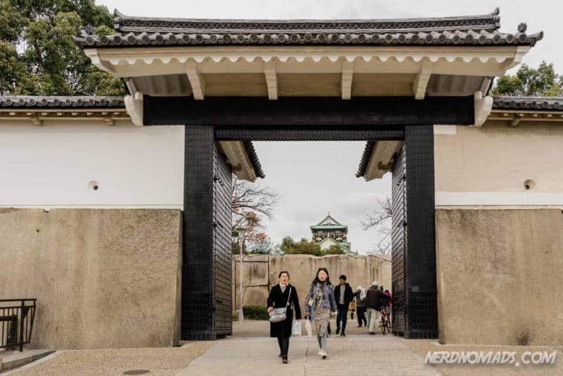 Sakuramon Gate at Osaka Castle in Osaka. Japan