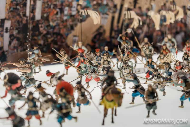 Models of battle at Osaka Castle in Osaka, Japan