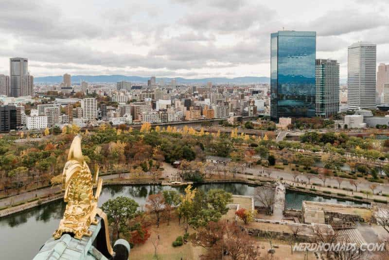 Awesome views from the observation deck at Osaka Castle in Osaka, Japan