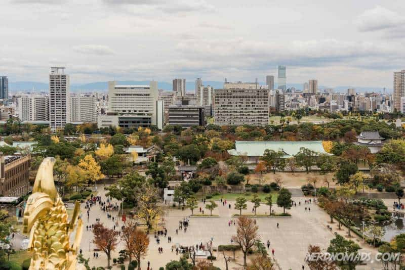 Fantastic view from the observation deck at Osaka Castle in Osaka, Japan