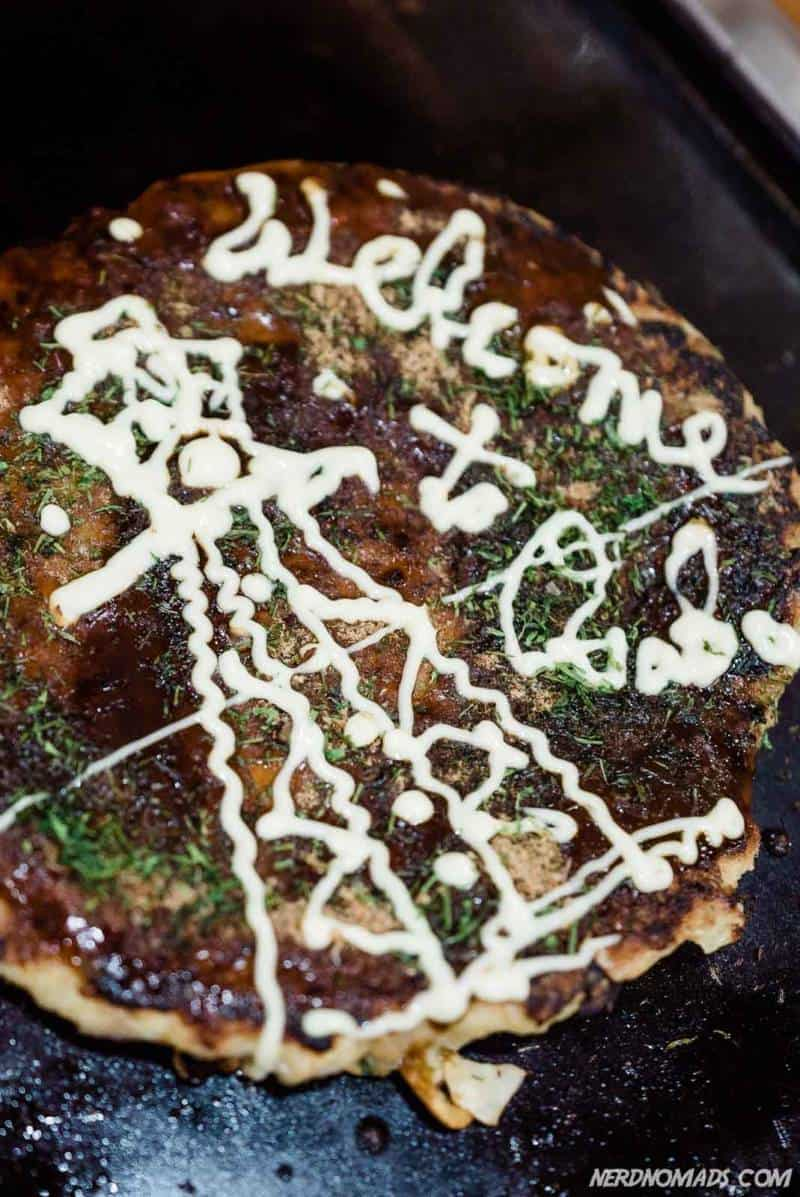 Okonomiyaki in Pancake One Okaru Osaka