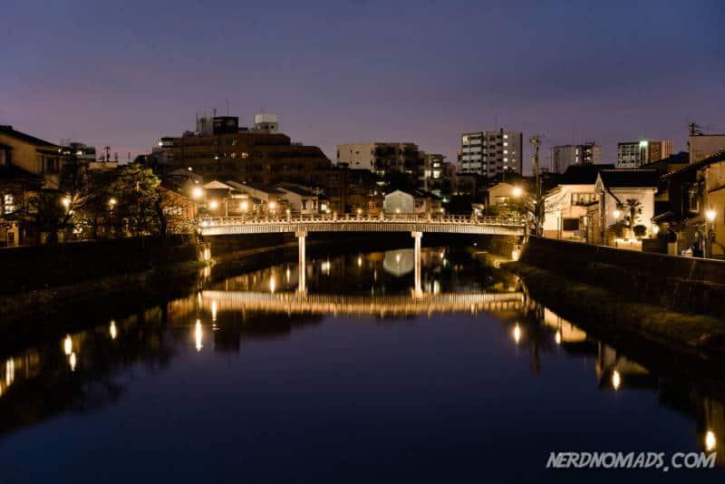 After dark river Nagamachi Samurai District Kanazawa