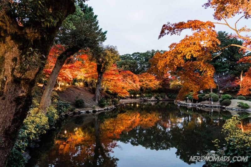 Autumn colors in Shukkeien Garden Hiroshima Japan