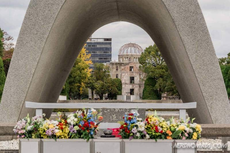Cenotaph pond of peace flame of peace in Hiroshima