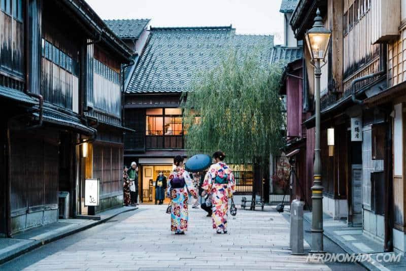 Two ladies in kimonos in Higashi Chaya Geisha District Kanazawa