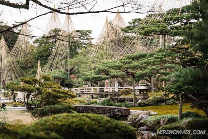 Hanamibashi Bridge in Kenrokuen Garden Kanazawa