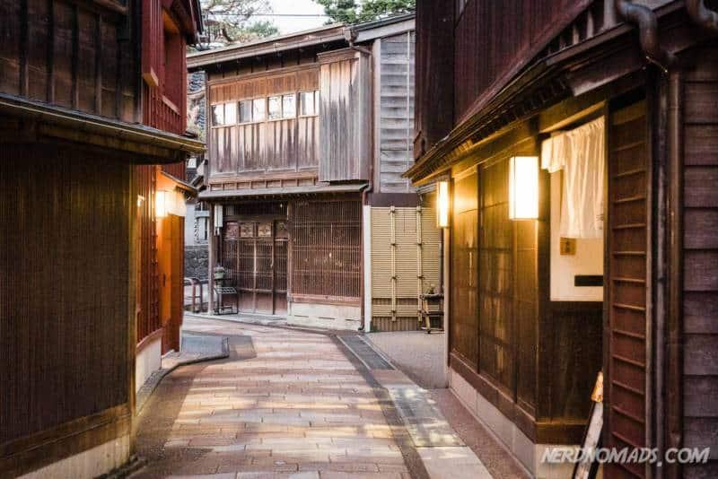 Cozy street in Higashi Chaya Geisha District Kanazawa