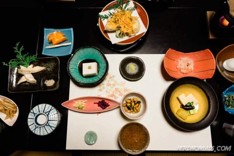 Traditional Japanese kaiseki dinner