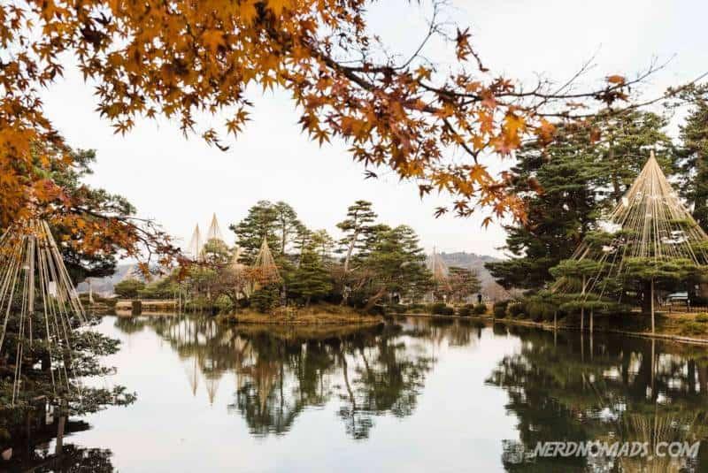 Autumn leaves in Kenrokuen Garden Kanazawa
