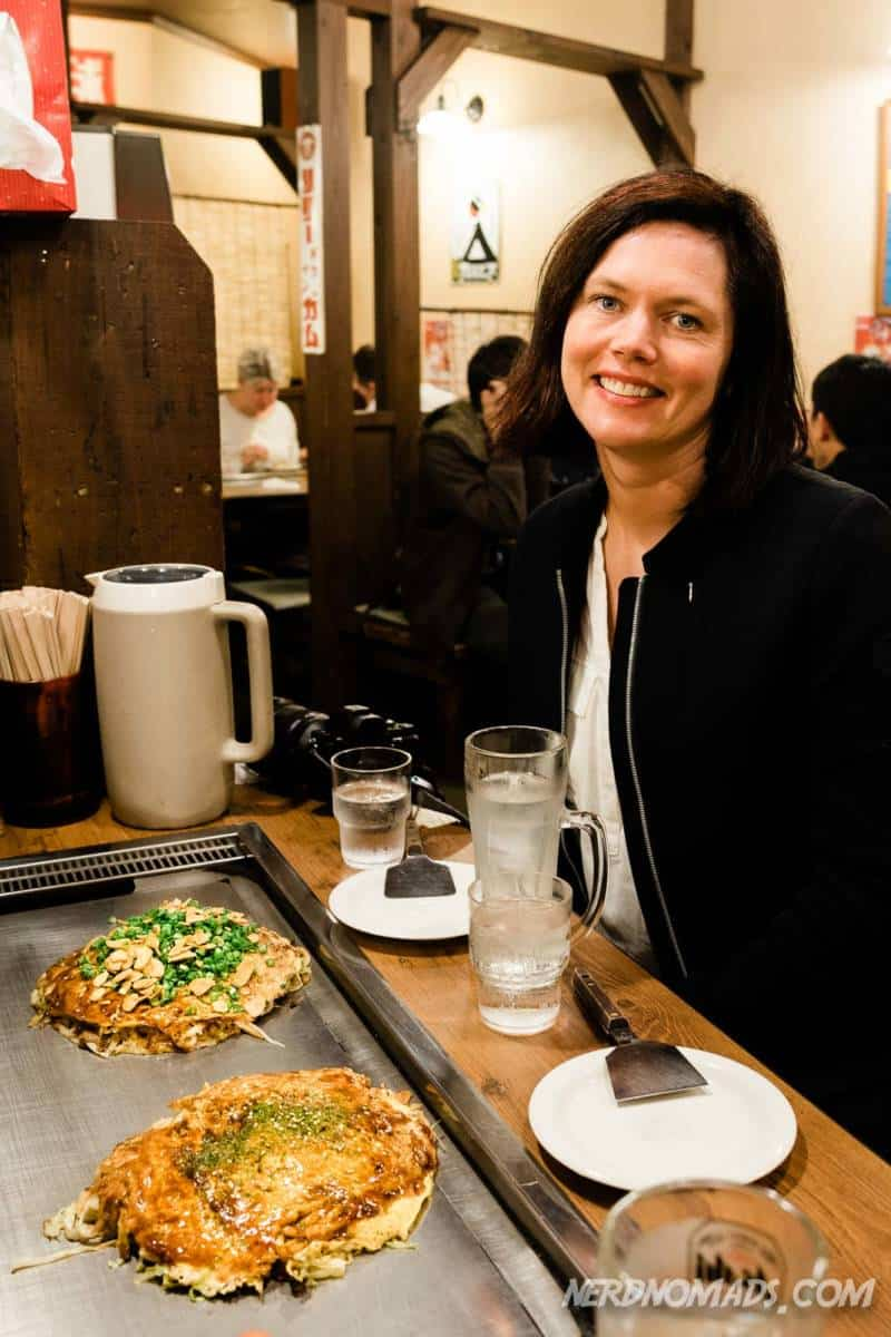 Eating Okonomiyaki at Nagataya Restaurant Hiroshima