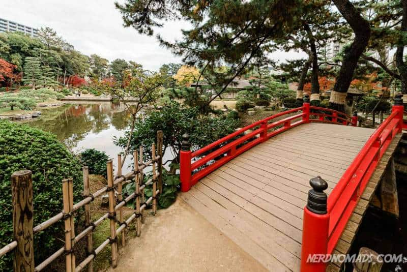 Red bridge at Shukkeien Garden Hiroshima Japan