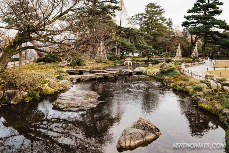 The stones Seven Fortune Gods in Kenrokuen Garden Kanazawa