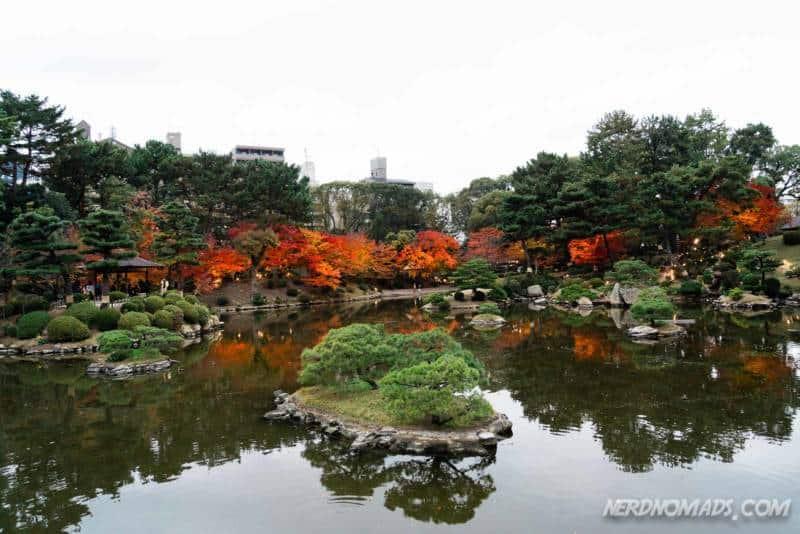 Takuei Pond in Shukkeien Garden Hiroshima Japan