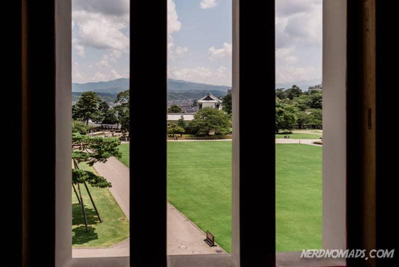 Lovely view from Kanazawa Castle in Kanazawa, Japan