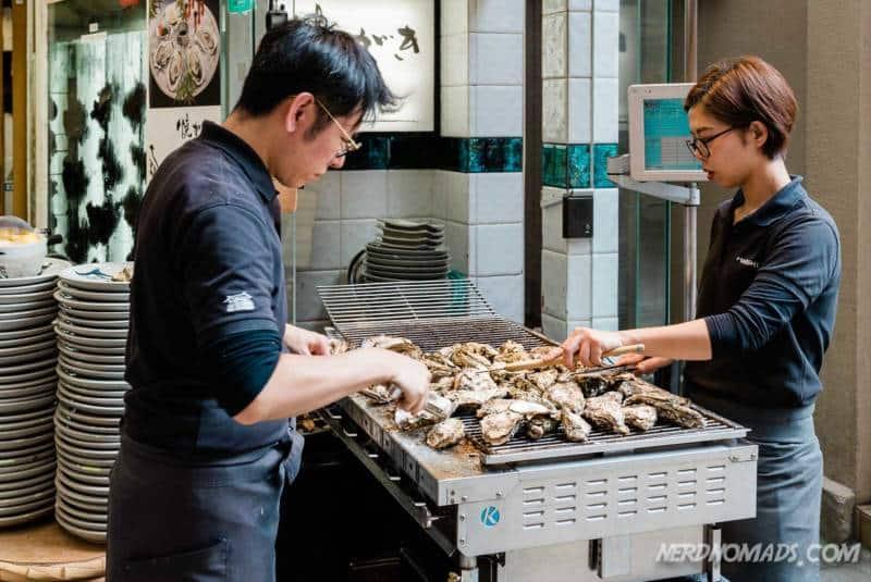 Grilled oysters at Miyajima Island