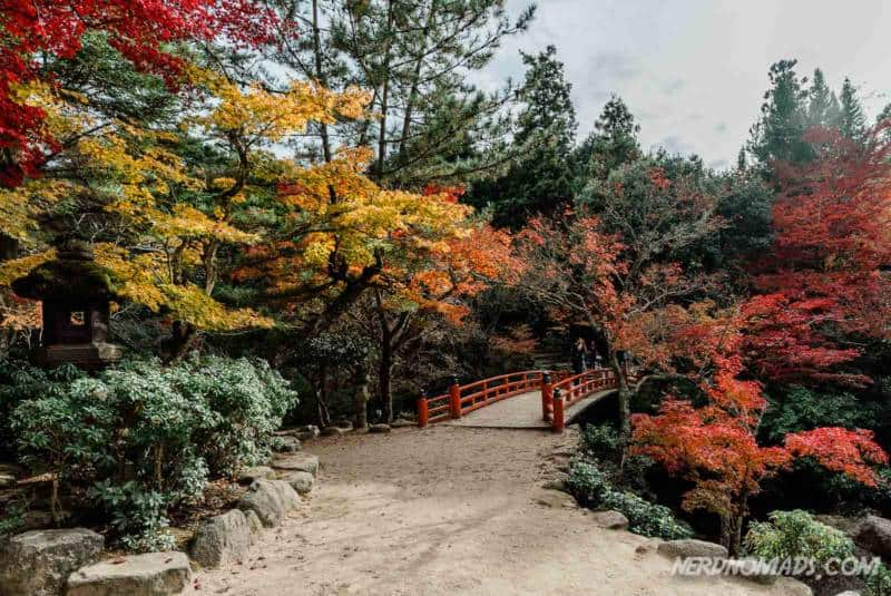 Red bridge Momijidani Park at Mount Misen Miyajima Ropeway
