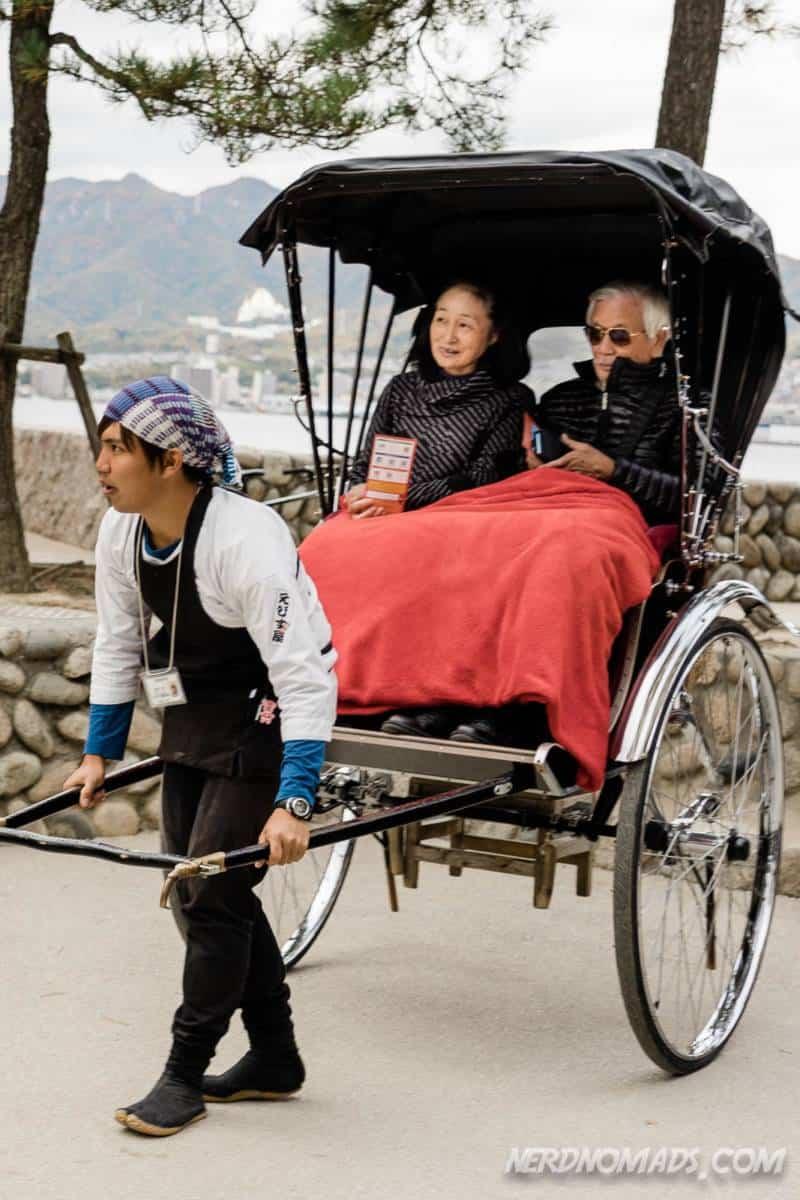 You can take a Rickshaw at Miyajima Island