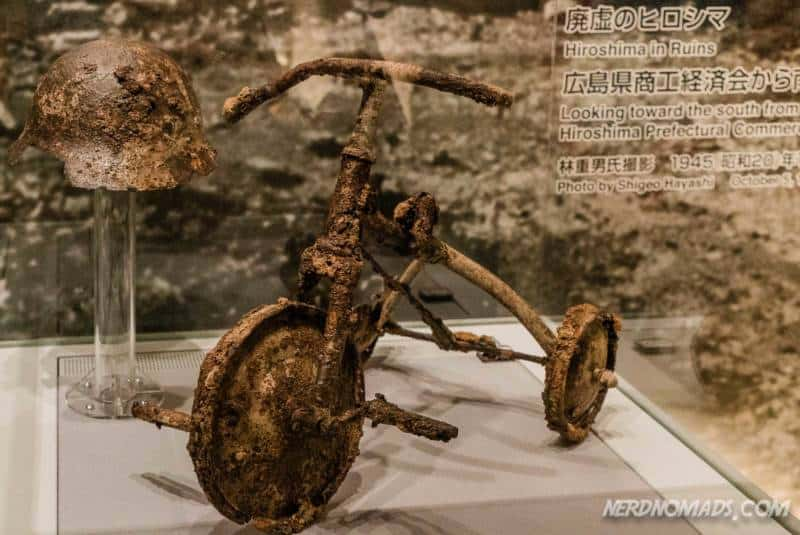 A childs bicycle at the Hiroshima Peace Memorial Museum