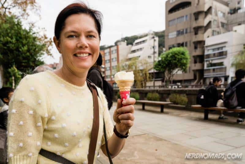 Eating Chirin-Chirin ice cream in Nagasaki