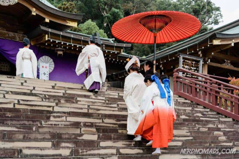 Traditional japanese wedding at Suwa Shrine in Nagasaki
