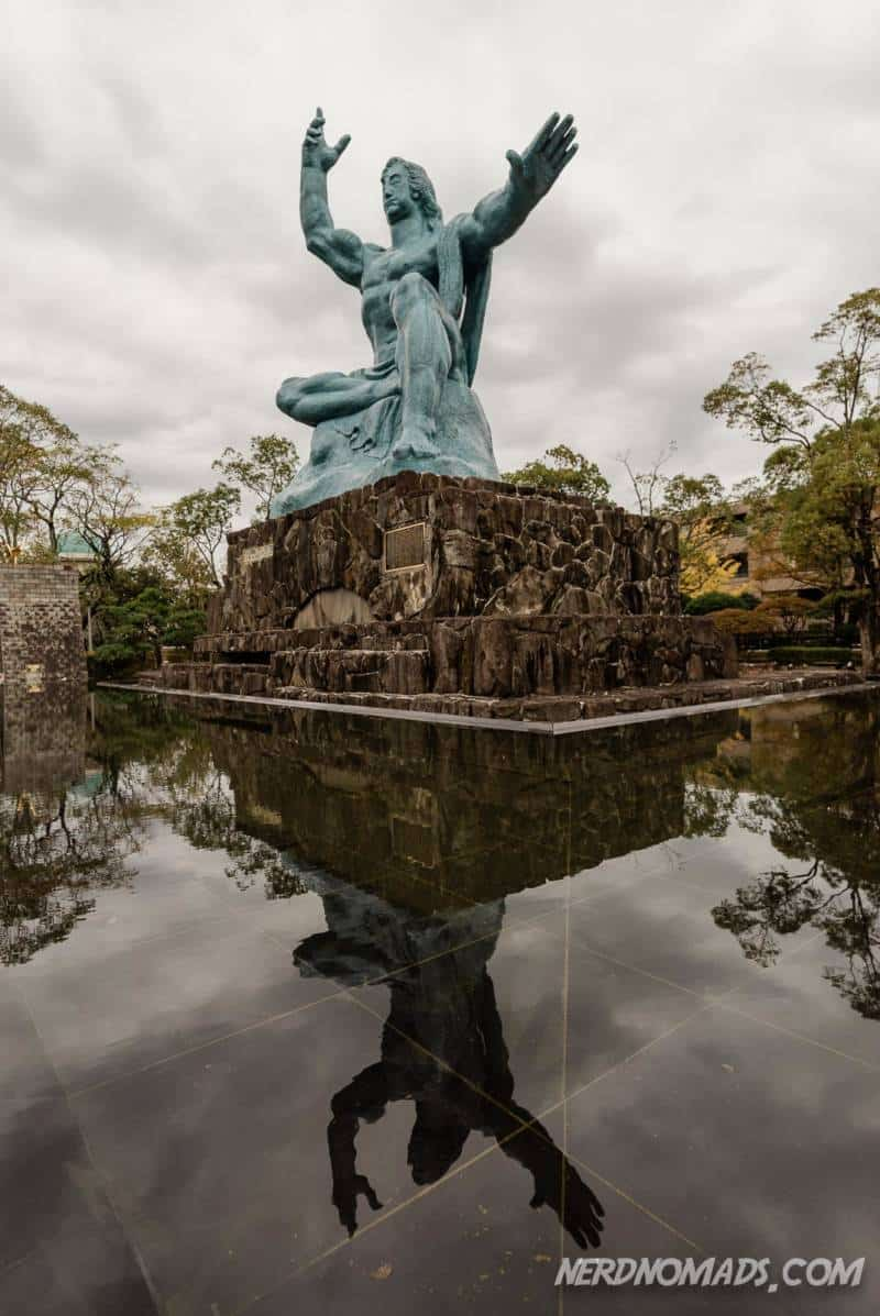 The majestic Peace Statue at Nagasaki Peace Park