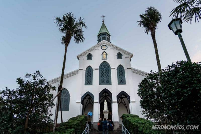 The beautiful white Oura Church in Nagasaki