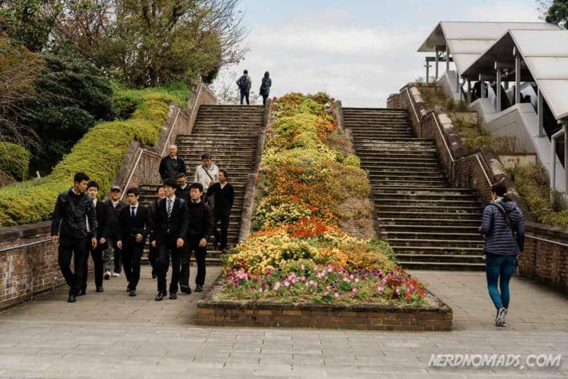 Stairs with beautiful flowers at Nagasaki Peace Park
