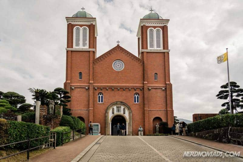 The beautiful red brick Urakami Cathedral in Nagasaki, Japan