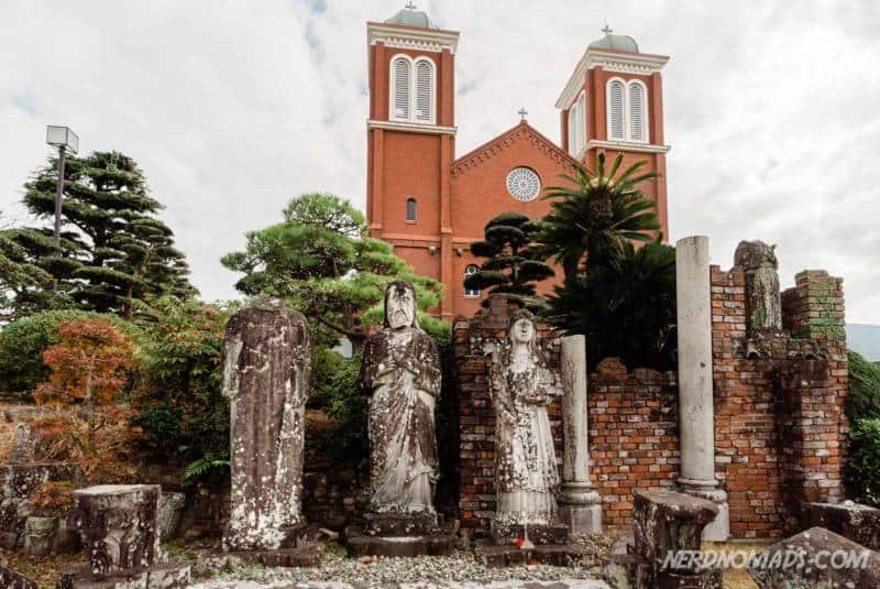 Old statues in front of the Urakami Cathedral Nagasaki