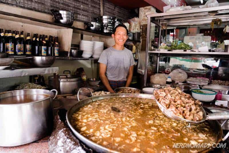 Huge pot of beef noodle broth at Wattana Panich in Ekkamai Bangkok