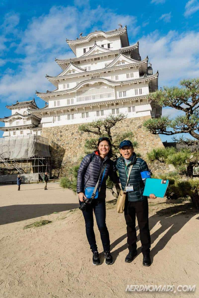 Guide at Himeji Castle showing us around