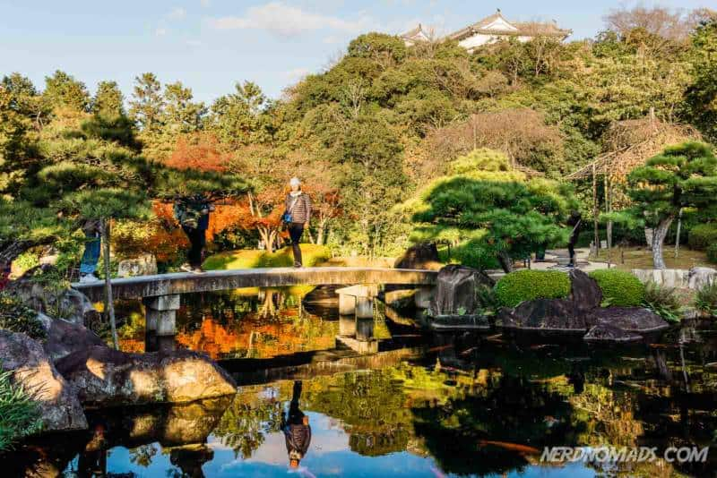 beautiful autumn colors in Kokoen Garden at Himeji Castle