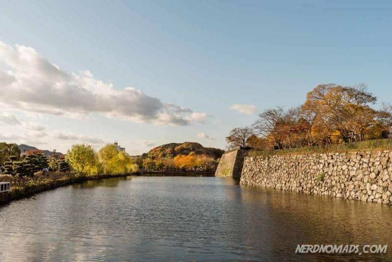 A big moat surrounds Himeji Castle