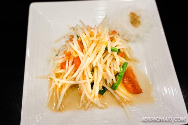 Somtom papaya salad at Baan Somtum Restaurant in Sathorn Bangkok
