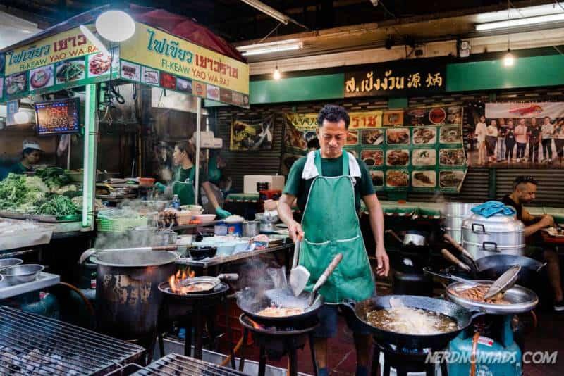 Street food Cooking at Yaowarat Street Chinatown Bangkok