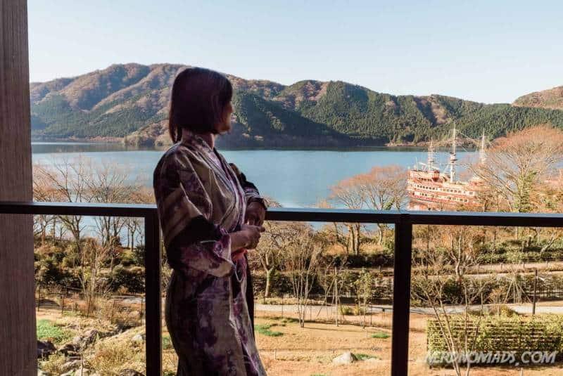 Hakone Ashinoko Hanaori Hotel panorama view of Lake Ashi