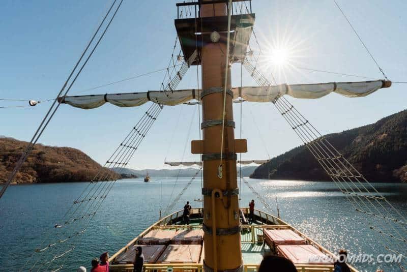 View from pirate ship cruise on Lake Ashi in Hakone