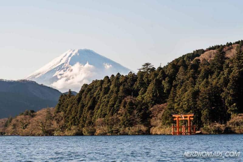 Mount Fuji Red floating torii gate at Lake Ashi in Hakone