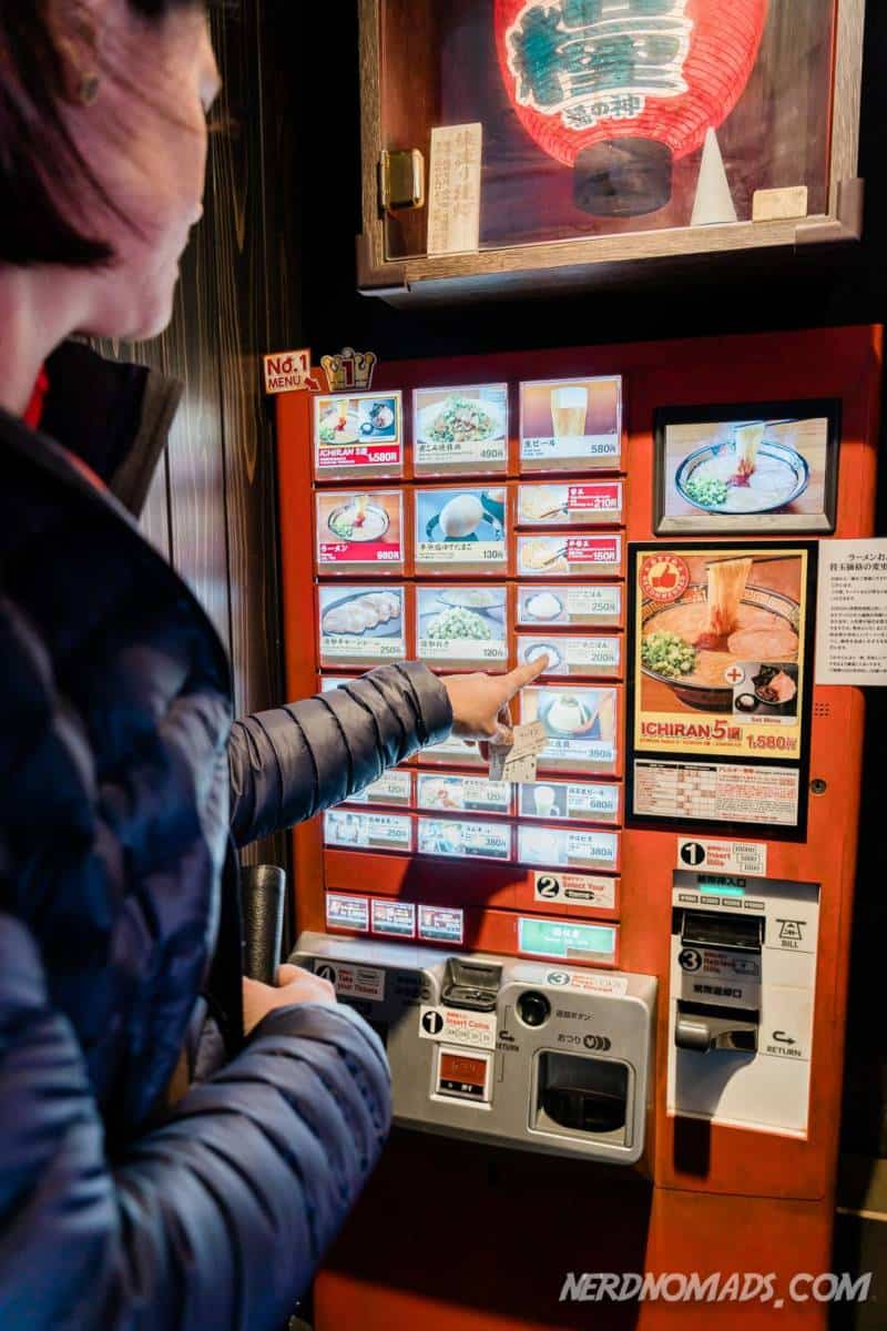 Ordering at the machine at Ichiran Fukuoka