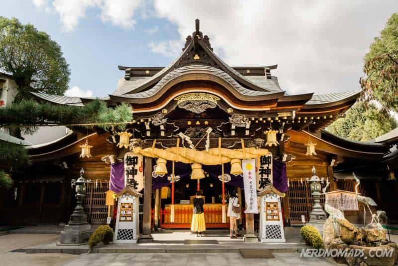 Praying at Kushida Shrine Fukuoka