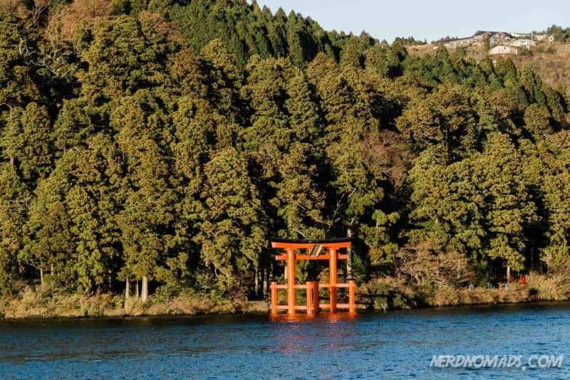 Red floating torii gate at Lake Ashi in Hakone